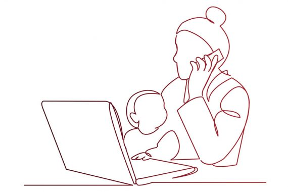 Illustration of a woman working on a laptop with a small child on her lap.